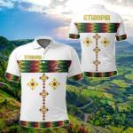 Ethiopia Rasta Round Pattern White All Over Print Polo Shirt