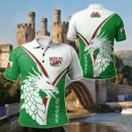 Wales Rugby - Celtic Rugby Welsh Dragon & Triskelion (Green) All Over Print Polo Shirt