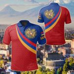 Armenia Coat Of Arms And Flag Color All Over Print Polo Shirt