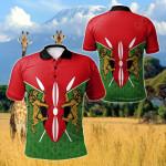 Kenya Flag And Coat Of Arms All Over Print Polo Shirt