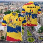 Romania Flag Brush All Over Print Polo Shirt