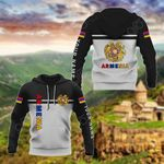 Customize Armenia Coat Of Arms And Flag - Black And White All Over Print Hoodies