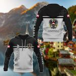 Customize Austria Coat Of Arms And Flag - Black And White All Over Print Hoodies