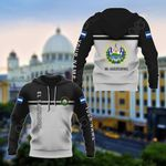 Customize El Salvador Coat Of Arms And Flag - Black And White All Over Print Hoodies