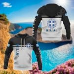 Customize Hellas Coat Of Arms And Flag - Black And White All Over Print Hoodies