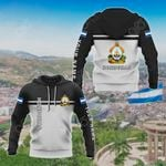 Customize Honduras Coat Of Arms And Flag - Black And White All Over Print Hoodies