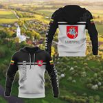 Customize Lithuania Coat Of Arms And Flag - Black And White All Over Print Hoodies