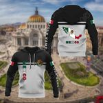 Customize Mexico Coat Of Arms And Map - Black And White All Over Print Hoodies