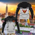 Customize Thailand Coat Of Arms And Flag - Black And White All Over Print Hoodies