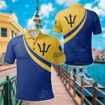 Barbados Coat Of Arms And Flag Color All Over Print Polo Shirt