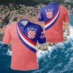 Croatia Coat Of Arms And Flag Color All Over Print Polo Shirt