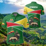Ethiopia Strong Lion All Over Print Polo Shirt
