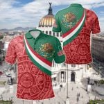 Mexico Coat Of Arms And Flag Color All Over Print Polo Shirt