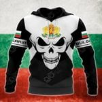 Bulgaria Coat Of Arms Skull - Black And White All Over Print Hoodies