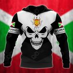Burundi Coat Of Arms Skull - Black And White All Over Print Hoodies