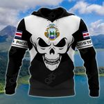Costa Rica Coat Of Arms Skull - Black And White All Over Print Hoodies