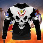 DR Congo Coat Of Arms Skull - Black And White All Over Print Hoodies
