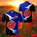 Australia Anzac - Lest We Forget Poppy Map Kangaroo Blue All Over Print Polo Shirt