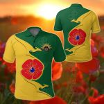 Australia Anzac - Lest We Forget Poppy Map Kangaroo All Over Print Polo Shirt