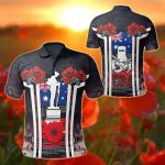 Australia Anzac Day - Poppy Flowerss Dot Painting All Over Print Polo Shirt