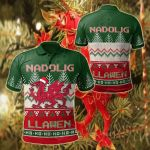 Wales Celtic Christmas - Welsh Dragon Nadolig Llawen Ugly Christmas Style Green All Over Print Polo Shirt