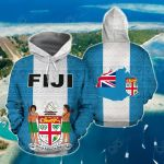Fiji Polynesian - Flag And Coat Of Arms All Over Print Hoodies