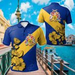 Barbados Crest Hibiscus All Over Print Polo Shirt