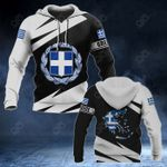 Greece Coat Of Arms - Map Special Version All Over Print Hoodies