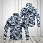 Blue Camo All Over Print Neck Gaiter Hoodie