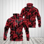 Red Camo All Over Print Neck Gaiter Hoodie