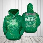 Happy Patrick's Day Shamrock All Over Print Hoodie