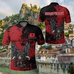 Albania Eagle Grunge All Over Print Polo Shirt