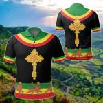 Ethiopia Cross Flag Lion Black All Over Print Polo Shirt