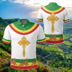 Ethiopia Cross Flag Lion White All Over Print Polo Shirt