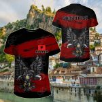 Albania Doulble Headed Eagle Grunge All Over Print T-shirt