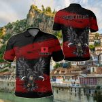 Albania Doulble Headed Eagle Grunge All Over Print Polo Shirt