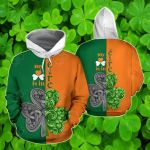 Irish Saint Patrick's Day Shamrock Celtic Cross All Over Print Shirts