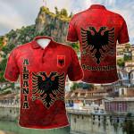 Albania Flag Polygon Style All Over Print Polo Shirt