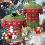 Christmas Funny Santa With Animals All Over Print Polo Shirt