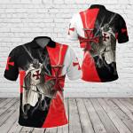 Knights Templar Red Cross Lightning Storm All Over Print Polo Shirt