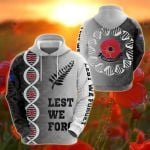 Lest We Forget New Zealand DNA Style All Over Print Hoodies