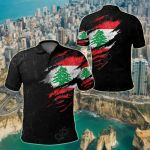 Lebanon In Me Special Grunge Style All Over Print Polo Shirt