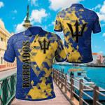 Barbados National Flag Polygon Style All Over Print Polo Shirt