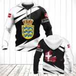 Denmark Coat Of Arms - Map Special Version All Over Print Hoodies