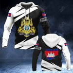 Cambodia Coat Of Arms - Map Special Version All Over Print Hoodies