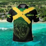 Jamaica Lion Flag Grunge All Over Print Polo Shirt