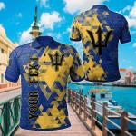 Customize Barbados National Flag Polygon Style All Over Print Polo Shirt