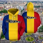 Romania Flag Ancient Dacian Wolf Standard Draco All Over Print Hoodies