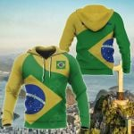 Brasil Flag Curve Concept All Over Print Hoodies