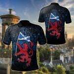 Scotland Celtic - Lion Rampant With Scotland Flag All Over Print Polo Shirt